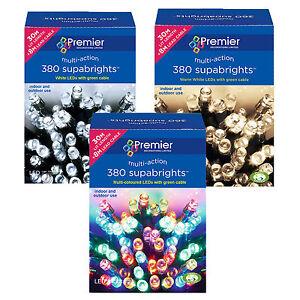 Premier 380 Supabrights LED Christmas Multi-action Lights Warm White Multi White
