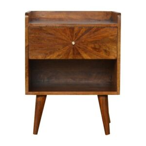 Mid Century Sunburst Inlay Bedside Table Chestnut Wood Tone