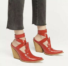 NEW Jeffrey Campbell Sunny Days Shoe Boot Mules Size 7 Red Patent Leather