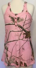 Realtree Racerback Tank Top Size Small 34-36 Pink Camo Scoop Neck Henley Button