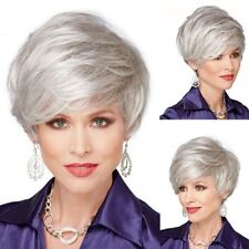 Short Straight Synthetic Silver White Wigs Women Full Wig Layered Cosplay Casual