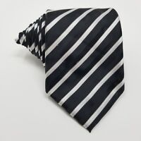 Bergamo New York Mens Necktie Striped Polyester Classic Neck Tie Black White