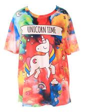 T-78 Colorato Nuvole Einhorn Arcobaleno Stelle Fantasia T-Shirt Pastel Goth
