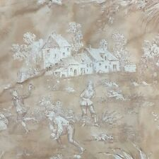 Pair French Country king pillow shams toile taupe cotton