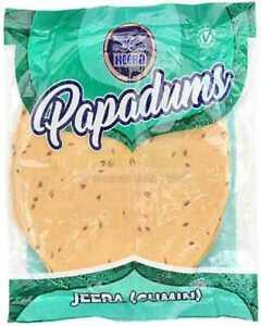 Cumin Seed (Jeera) flavour Indian Papad, Poppadoms, Papadums 200g