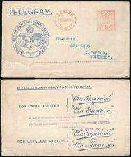 GB TELEGRAM ENVELOPE 1933 METER FRANKING IMPERIAL to RAWLE in CLEVEDON