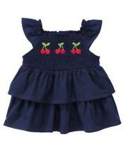 New Gymboree Cherry Cute navy blue sleeveless ruffled shirts girls 18-24 months