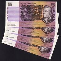 "R-205. (1974) 5 Dollars - Phillips/Wheeler.. ""AUSTRALIA""  gEF - CONSEC Run of 4"