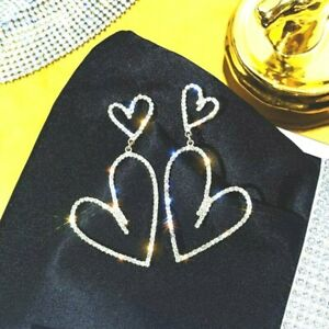 Silver or Gold Heart Statement Earrings Womens Big Sparkling Rhinestone Gift UK
