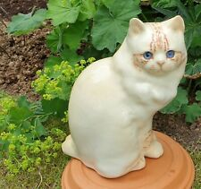 More details for winstanley pottery size 6 cream specked cat cat blue glass eyes signed new