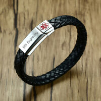 Men Medical Alert ID Braided Leather Bracelet Bangle Magnet Clasp Free Engraving