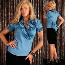 Cotton Short Sleeve Tops & Shirts for Women with Ruffle