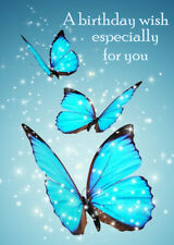 FEMALE LADIES HAPPY BIRTHDAY GREETINGS CARD BEAUTIFUL BLUE BUTTERFLIES