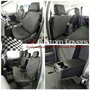 FORD RANGER T6 (2017)  TAILORED FRONT & REAR SEAT COVERS BLACK 155 156