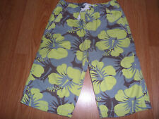 Mini Boden Yellow Gray & Brown Hawaiian Hibiscus  Board Shorts Size 9