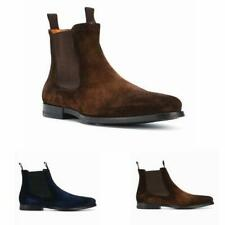 New Mens Real Suede Leather Chelsea Boots Shoes Pointy Toe Pull on Business 46 L