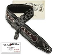 Walker & Williams C-35C Black & Brown Double Padded Leather Guitar Strap w/Studs