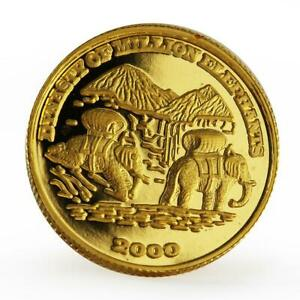 Laos 2000 kip Dynasty of Million Elephants proof gold coin 2000