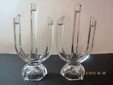 "Vintage Crystal Candlestick Pair-3 Arm-9 1/2"" Tall-Sleek & Elegant!"