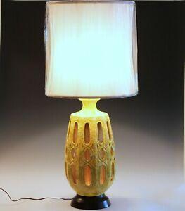 Vintage Lava Glaze Pottery Lamp Yellow 3 Way 1970s Funkadelic Night Light Large