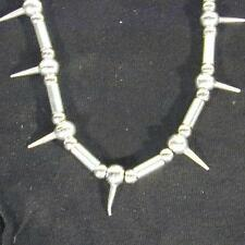 HEAVY METAL SILVER MENS NECKLACE WITH SPIKES new spike bead jewelry JL204