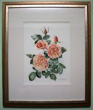 Original Watercolour Painting Floral Flower ROSE SCHOOLGIRL by ELIZABETH MCEWEN