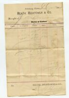1884 Billhead Invoice - Camp County Pittsburg Texas TX - Heath Hightower Cotton
