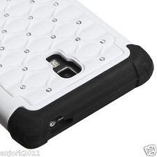 LG Optimus L9 T-Mobile P769 HYBRID SPOT DIAMOND CASE SKIN COVER WHITE BLACK