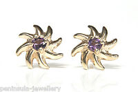 9ct Gold Amethyst Swirl Stud Earrings Gift Boxed Studs Made in UK
