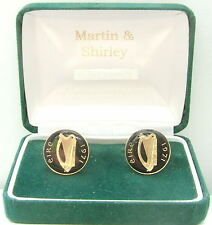 1971 IRELAND cufflinks from OLD IRISH  coins Black Gold
