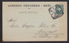Italy Sc 75 used 1905 Postal Card, BARI postmark