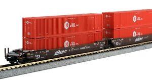 kato 106-6178  N  BNSF / HUB GUNDERSON  MAXI-IV WELLCARS 53' HUB RED CONTAINERS