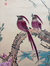 "Excellent Chinese 100% Hand Scroll Painting ""birds & flowers"" By Yan Bolong 颜伯龙"
