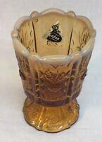 Fenton Art Glass Paneled Daisy On Cameo Opalescent Votive / Toothpick Holder