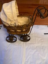 """Vintage Ornate Baby Doll Stroller Buggy Carriage wood with metal wheels 7.5""""x5"""""""