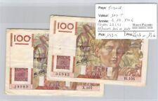 2 BILLETS FRANCE - 100 FRANCS - 3.10.1946 - ALPHABETS 106 ET 107