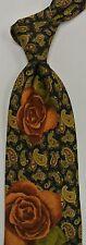 "Blue Gold Orange Paisley Floral KENZO Silk Tie 3.7"" Wide 57"" Long"