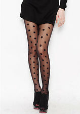 Black Polka Dot Panty Hose Tights Support Stockings New Small
