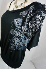 Daytrip Top M Size Medium The Buckle Bke Floral Off Shoulder Black Womens Shirt