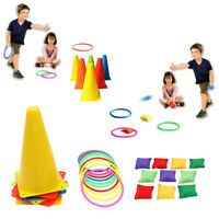 3 In 1 Ring Toss Game Set Cone Bean Bags Puzzle Kids Outdoor Game Birthday Gifts