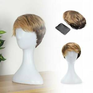 Women Boy Cut Short Layered Pixie Wigs Straight Full Wig Synthetic  for Women