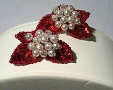 AVON SEQUIN SPARKLE CLIP EARRINGS  RED FAUX PEARLS 1991 VINTAGE