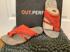 NIB Merrell Women's Sz 5 Terran Post Slip On Leather Walking Sandals Red Clay
