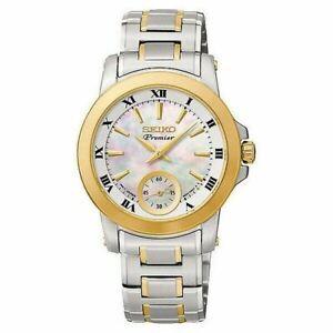 Seiko Premier Women's Watch Ladies Golden Silver Steel Bracelet Pearl Dial SRKZ6