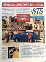 1938 Studebaker Commander Vintage Advertisement Print Art Car Ad Poster LG73