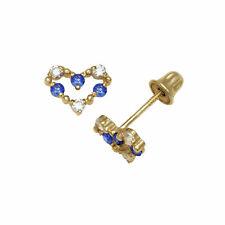 14k Yellow Gold Open Heart Screw-back Stud Earrings