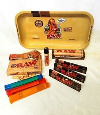 RAW GIRL TRAY 3 Pks Black King Size Slim Rolling Papers Pre Rolled Tips (BUNDLE)