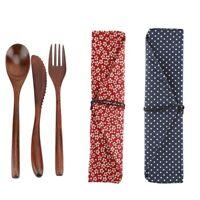Japanese Style Reusable Bamboo Dinnerware Set Tableware Kit Knife & Fork & Spoon