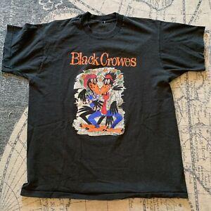 Vintage The Black Crowes Tour T Shirt Sz L 1993 Concert Rock Band Black USA Made