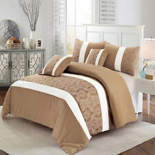 Beige & White Faux Silk Quilted Bedspread King Size Bed Throw With Pillow Shams